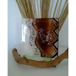 Piatto Decorato in Vetro cm 18x18 artigianato sardo